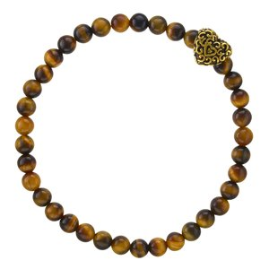 Bracelet Tiger´s eye Stainless Steel PVD-coating (gold color) Heart Love