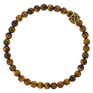 Bracelet Tiger´s eye Stainless Steel PVD-coating (gold color)