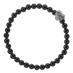 Bracelet Onyx Stainless Steel Heart Love