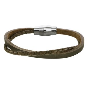 Bracelet Leather Stainless Steel Eternal Loop Eternity