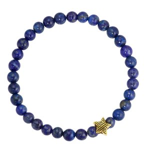 Bracelet Surgical Steel 316L PVD-coating (gold color) Lapis Lazuli Star