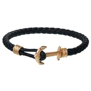 PAUL HEWITT Beach bracelet Leather Stainless Steel PVD-coating (gold color) Anchor