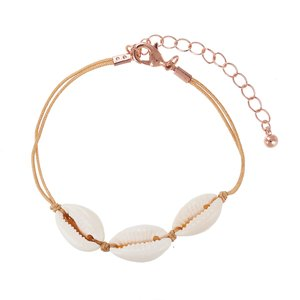 Bracelet Sea shell nylon PVD-coating (gold color) Brass