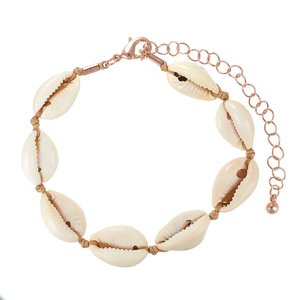 Bracelet Sea shell PVD-coating (gold color) nylon Brass