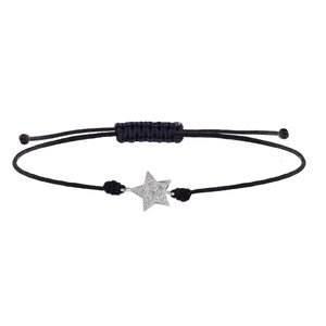 Beach bracelet Silver 925 nylon zirconia Star