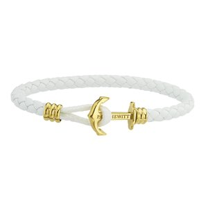 PAUL HEWITT Beach bracelet Leather Stainless Steel PVD-coating (gold color) Anchor rope ship