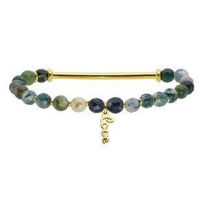 Bracelet Stainless Steel Gold-plated Natural stone Love Affection