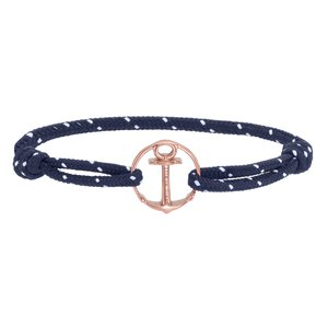PAUL HEWITT Strand-armband PVD laag (goudkleurig) Staal Gerecycled Polyester Anker touw schip