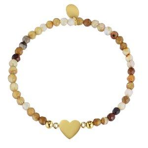 armband Staal PVD laag (goudkleurig) Agaat hart liefde
