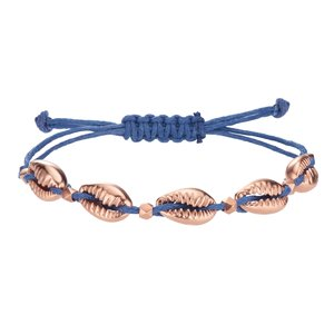 Geknüpftes Armband Edelstahl PVD Beschichtung (goldfarbig) Nylon Muschel