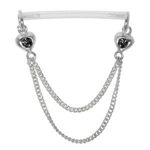 Nipple piercing Silver 925 Bioplast Crystal Heart Love