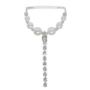 Nipple piercing Silver 925 Bioplast Synthetic Pearls Crystal