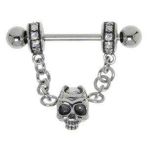 Nipple piercing Surgical Steel 316L Crystal Skull Skeleton