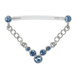 Nipple piercing Silver 925 Bioplast Crystal