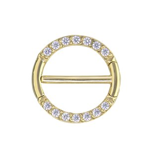 Nipple piercing PVD-coating (gold color) Swarovski Zirconia Surgical Steel 316L