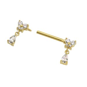 Nipple piercing Surgical Steel 316L PVD-coating (gold color) Drop drop-shape waterdrop Butterfly