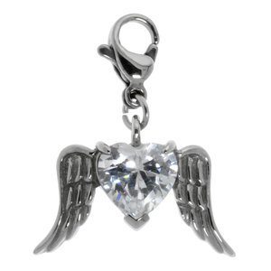 Charms pendants Stainless Steel zirconia Heart Love Wings