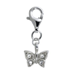 Kids charm Silver 925 Crystal Butterfly
