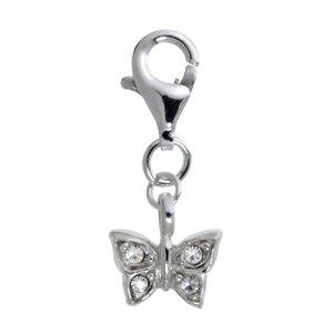 Charm niños Plata 925 Cristal Mariposa