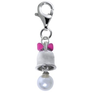 Kids charm Silver 925 Enamel Synthetic Pearls Bell Ribbon Bow Hair_bow