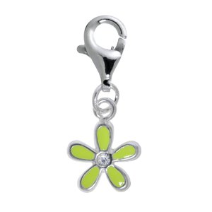 Kinder Charm Silber 925 Email Kristall Blume
