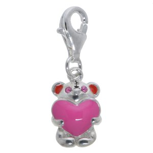 Kids charm Silver 925 Enamel Crystal Bear Teddy Teddy_bear Heart Love