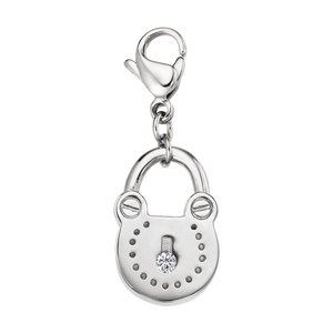 Charms pendants Stainless Steel zirconia Lock