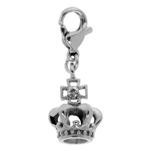 Kids charm Swarovski crystal Stainless Steel Crown Cross