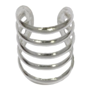 Ear clip Silver 925 Stripes Grooves Rills
