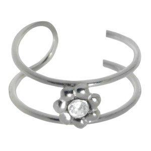Oorclip Zilver 925 Kristal bloem