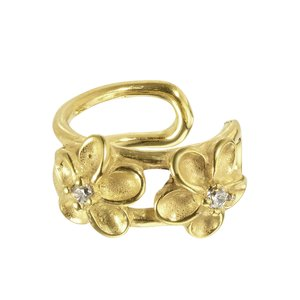 Ear clip Stainless Steel PVD-coating (gold color) Crystal Flower