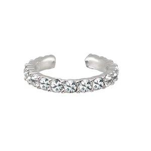 Ear clip Rhodium plated brass Crystal