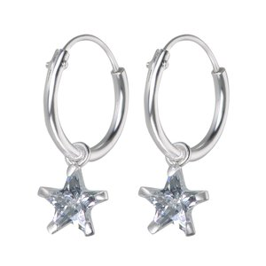 Kids earrings Silver 925 zirconia Star