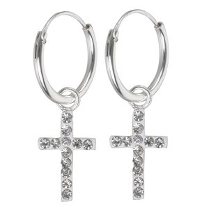 Hoops Silver 925 Crystal Cross