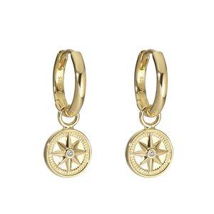 PAUL HEWITT Orecchini Argento 925 Rivestimento PVD (colore oro) Zircone Ancora corda nave