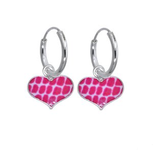 Kids earrings Silver 925 Enamel Heart Love