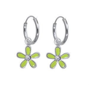 Kids earrings Silver 925 Enamel Crystal Flower