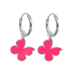 Kids earrings Silver 925 Enamel Butterfly