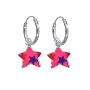 Kids earrings Silver 925 Enamel Star