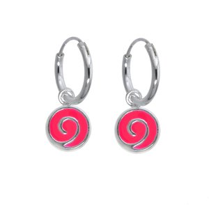 Kids earrings Silver 925 Enamel Spiral