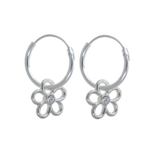 Kids earrings Silver 925 Crystal Flower