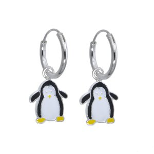 Kids earrings Silver 925 Enamel Penguin