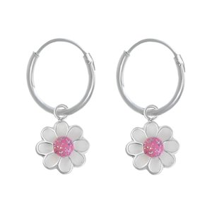 Kids earrings Silver 925 Epoxy Flower