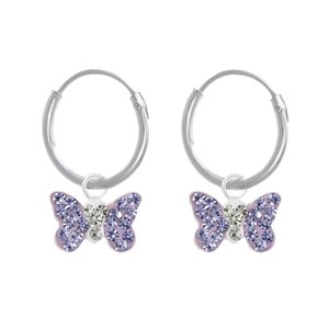 Kids earrings Crystal Silver 925 Butterfly