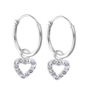 Kids earrings Silver 925 Crystal Heart Love