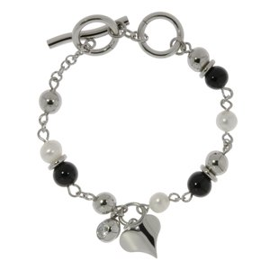 Bracelet Stainless Steel Synthetic Pearls Black PVD-coating Crystal Heart Love