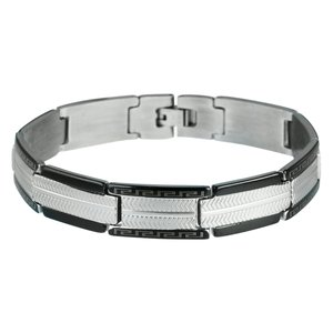 Armband Edelstahl PVD Beschichtung (schwarz) Streifen Rillen Linien