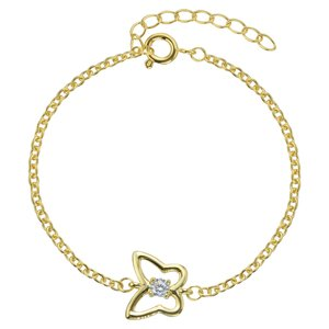 Kids bracelet Stainless Steel PVD-coating (gold color) zirconia Butterfly