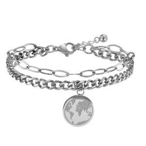 Armband Edelstahl Erde Welt
