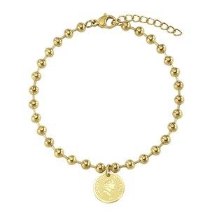 armband Staal PVD laag (goudkleurig) kroon